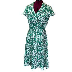 Eva Mendez green and white floral wrap dress 8